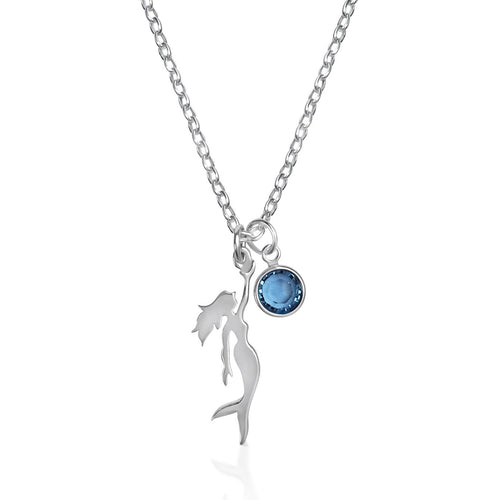 Sterling Silver Miss Scuba Mermaid Necklace with Swarovski Crystal