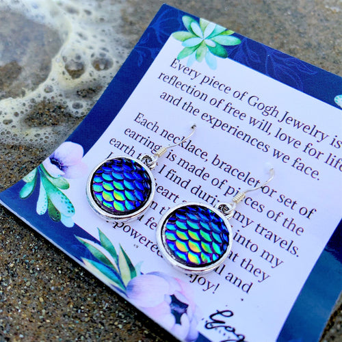Be a Mermaid and Make Waves - Ocean Lovers Earrings with Fish Scale Druzy Cabochon