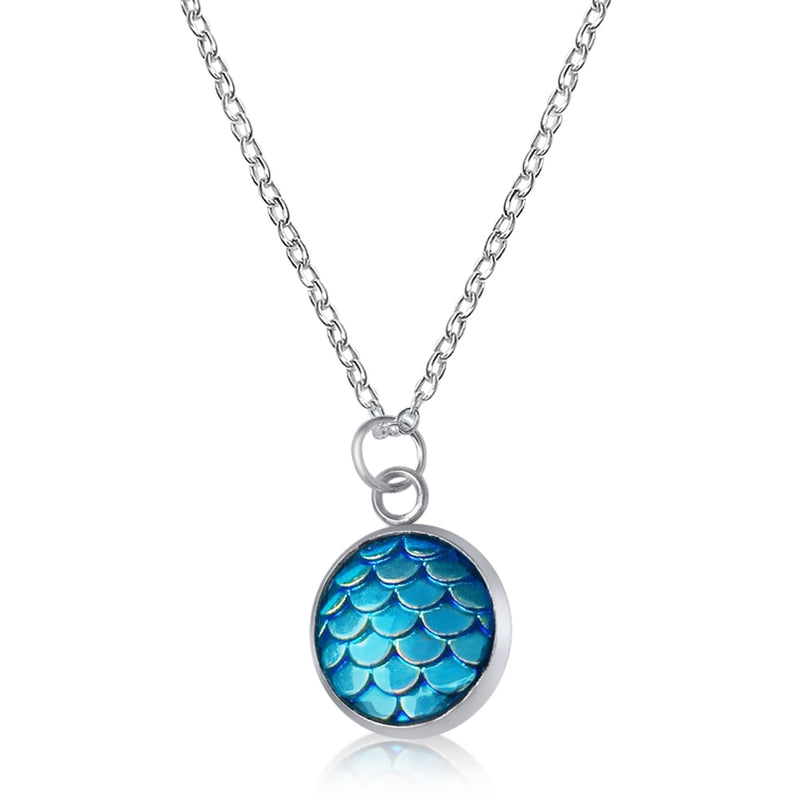 Be a Mermaid and Make Waves - Ocean Lovers Necklace with Fish Scale Druzy Cabochon
