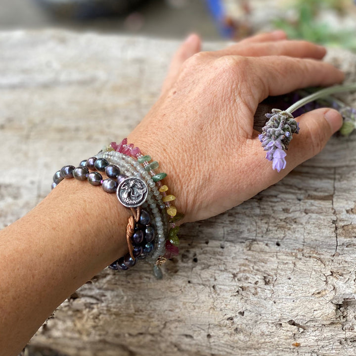 Ocean inspired jewelry: Mermaid Soul Bracelet Combo - Fresh Water Pearl and Leather Wrap Bracelet with Mermaid Button, Emotional Healing Rainbow Chakra Tourmaline Bracelet for Self Love, Labradorite Wrap Bracelet for a Positive Change in Your Life.