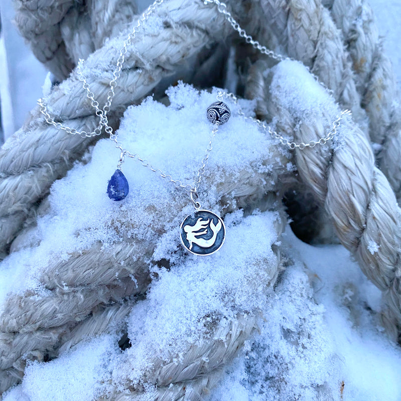 Sterling Silver Untamed Spirit Mermaid Necklace with Tanzanite