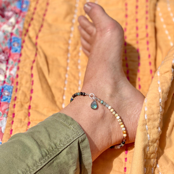 Mindfulness Chakra Anklet with Healing Stones