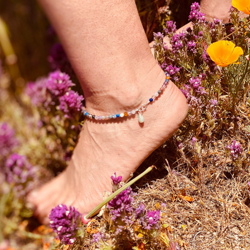 Mindfulness Anklet with a Mix of Semi-Precious Chakra Healing Stones