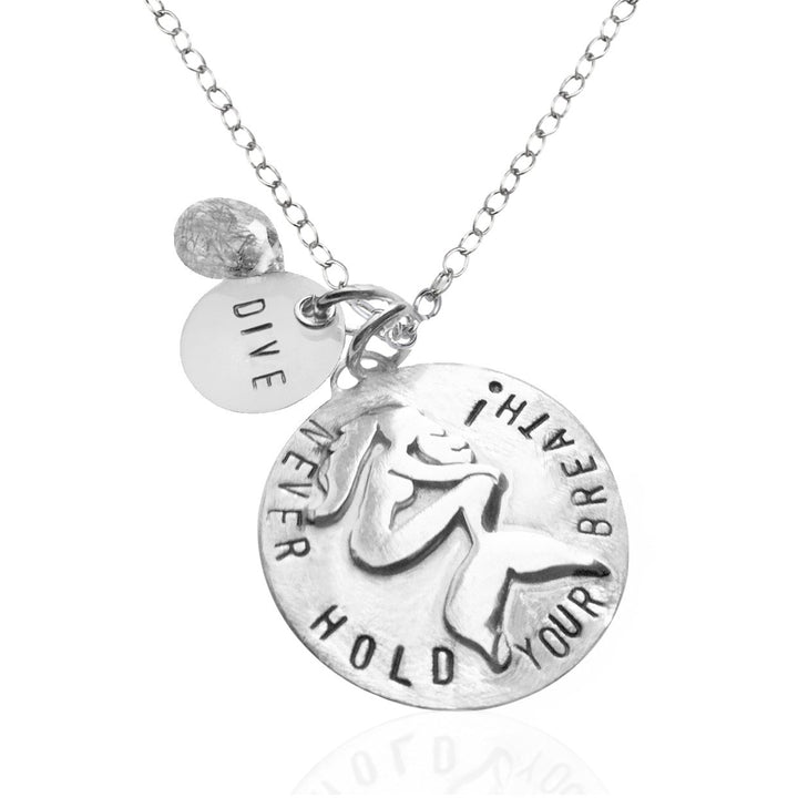 Sterling Silver Miss Scuba Never Hold Your Breath Dive Necklace with a Mermaid
