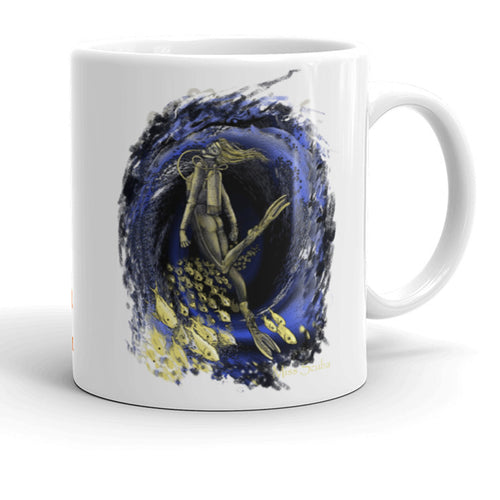 Miss Scuba Underwater Vortex Cafe Mug, so that you can dream about scuba diving event at the office.