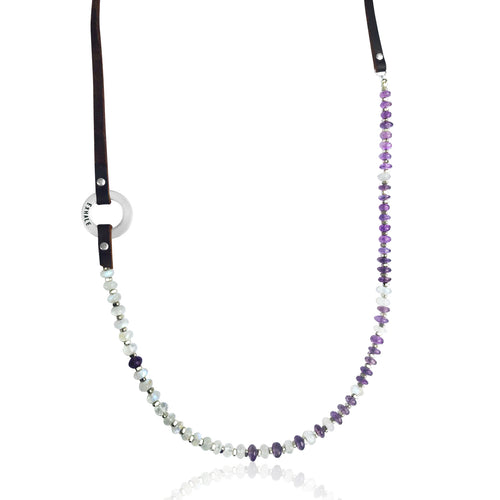 Serenity Statement Jewelry: Moonstone, Amethyst, Leather Prayer Inhale / Exhale Necklace for New Beginnings in Your Life. Brings good vibes for confident young women; it is also excellently suited to underlining the individuality of the more mature woman. Sophisticated, inspirational and yoga accessory. Mindfulness reminder to Breathe.