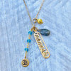Aquamarine Namaste Yoga Necklace with Ohm