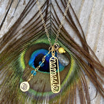 Gold Filled Spiritual Namaste Yoga Necklace with Aquamarine, Ohm and Rutilated Quartz Charms