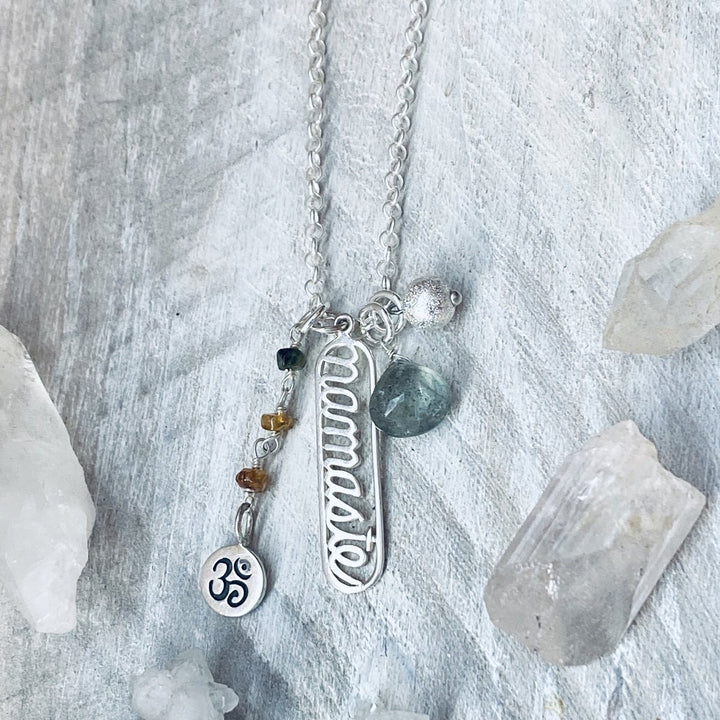 Sterling Silver Spiritual Namaste Yoga Necklace with Ohm and Aqua Moss Charms