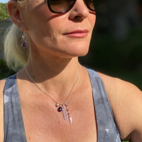 Sterling Silver Spiritual Namaste Yoga Necklace with Angel Wing and Amethyst