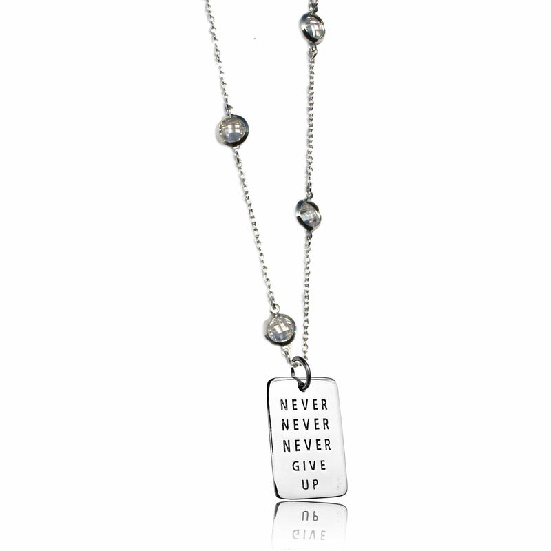 Sterling Silver Inspirational Never Give Up Dog Tag Quote Pendant on a Sparkly Necklace.