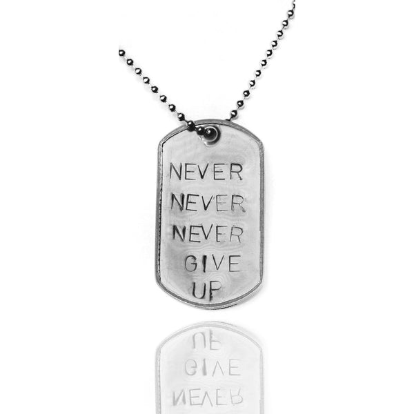 Stainless Steel Never Give Up Inspirational Dog Tag Necklace