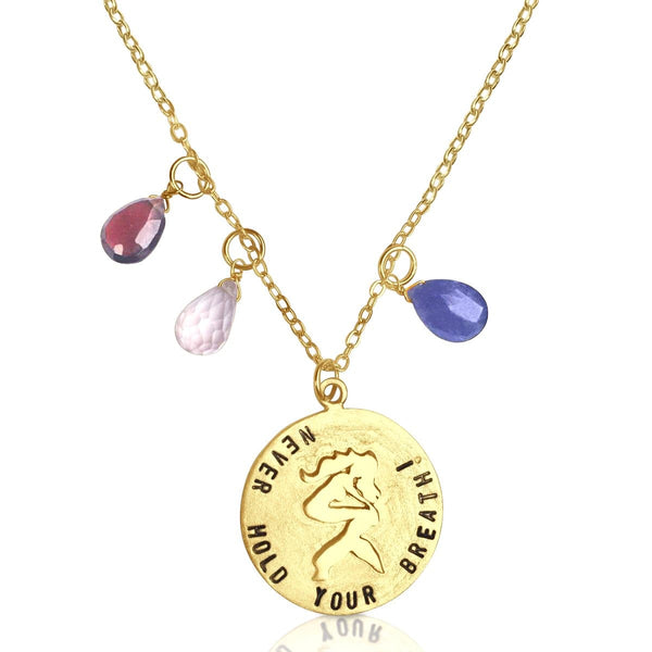 Gold Filled Miss Scuba Ocean Inspired Never Hold Your Breath Dive Necklace with a Mermaid, Tanzanite, Garnet and Rose Quartz to remind you of the Colorful Underwater World when you are on land.
