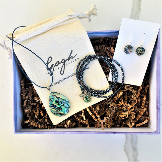 Sea Goddess Gift Set: Abalone Shell Necklace, Earrings and Wrap Bracelet