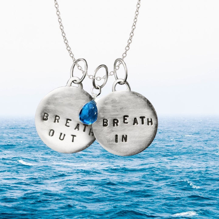 Breath In - Breath Out Necklace with Turquoise Blue Quartz for Energizing