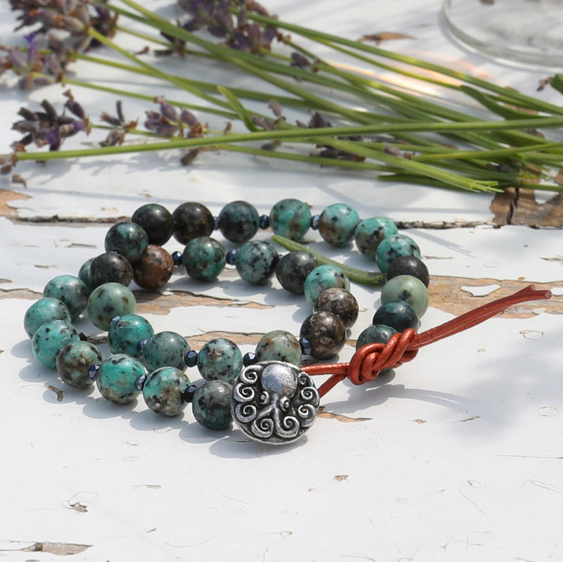 Turquoise Wrap Bracelet with Octopus to Symbolize Intelligence