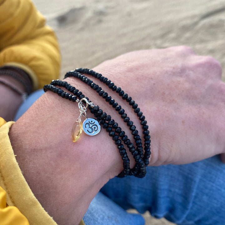 Positive Energy Yoga Wrap Bracelet with Ohm and Citrine Charms