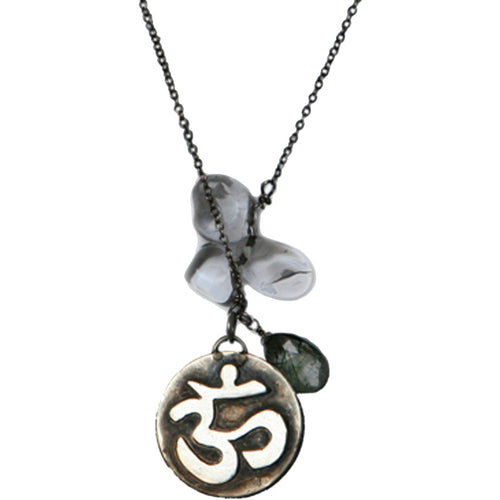 Antiqued Ohm Pendant Necklace with Quartz Crystals