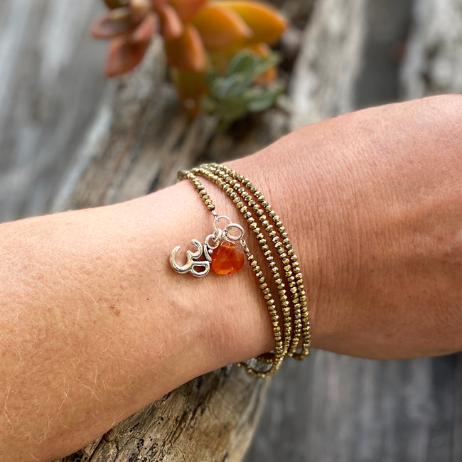 Yoga inspired Protective Golden Shade Crystal Wrap Bracelet with Ohm and Carnelian Charms