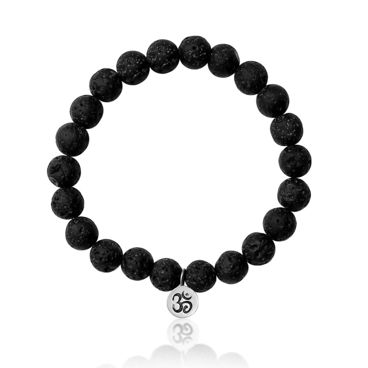 Yoga Inspired Bracelet with Ohm Charm and Lava Stone to Hear the Sound of the Universe