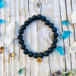 Yoga Inspired Lava Stone Bracelet with Ohm Charm to Hear the Sound of the Universe