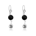 Yoga Inspired Earrings with Ohm and Lava Stone to Hear the Sound of the Universe
