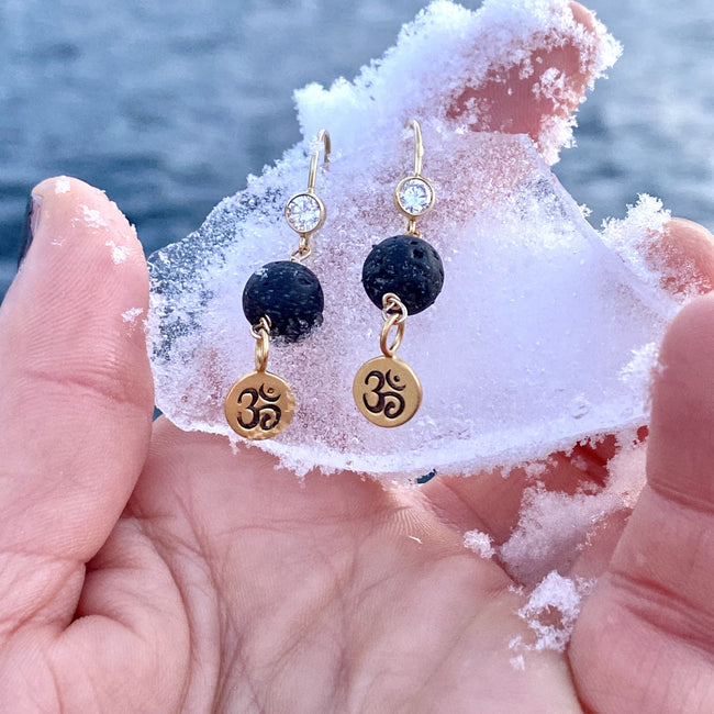 Gold Yoga Inspired Lava Stone Earrings with Ohm Charm