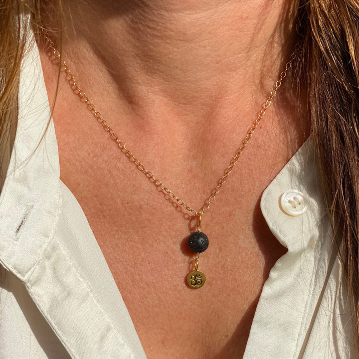 Yoga Inspired Gold Ohm Necklace with Lava Stone to Hear the Sound of the Universe