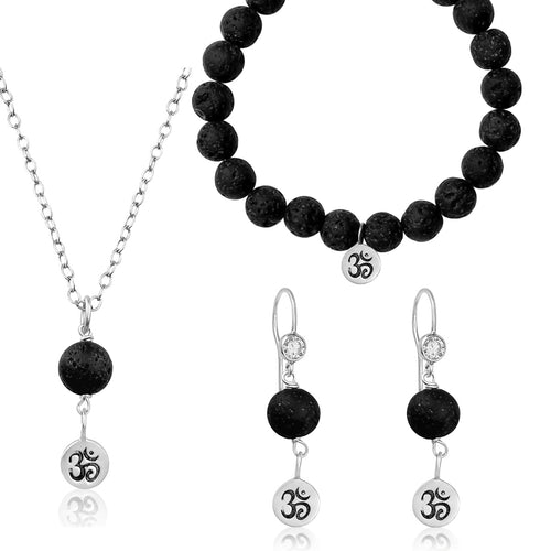 Sterling Silver Yoga Inspired Ohm Jewelry Set with Lava Stone to Hear the Sound of the Universe