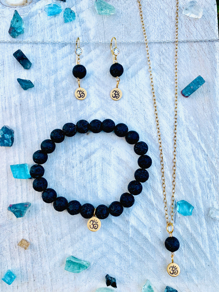 Yoga Inspired Lava Stone Set with Ohm Charm to Hear the Sound of the Universe