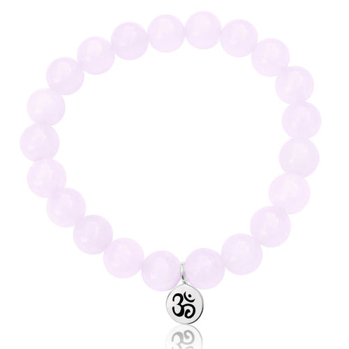 Sterling Silver Yoga Inspired Ohm Bracelet with Rose Quartz
