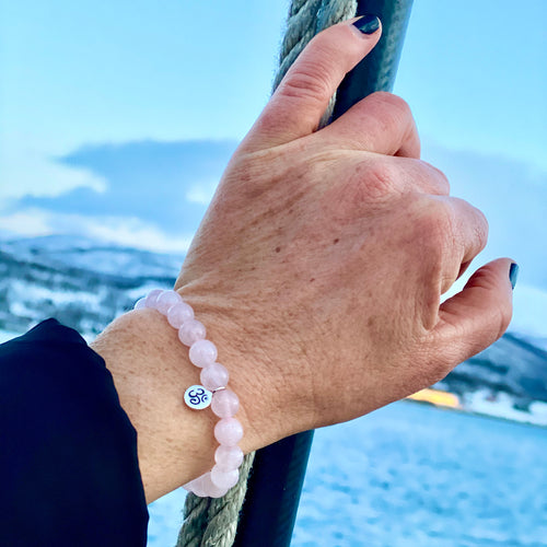 Yoga Inspired Rose Quartz Bracelet with Ohm Charm to Hear the Sound of the Universe
