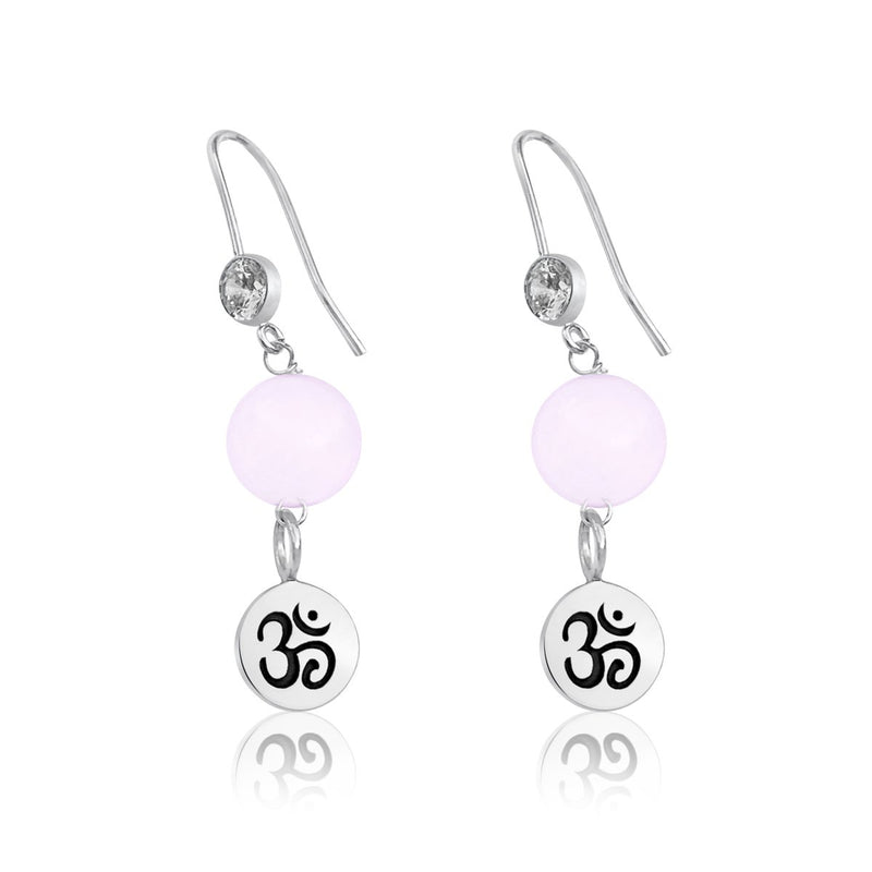 Sterling Silver Yoga Inspired Ohm Earrings with Rose Quartz