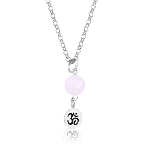 Sterling Silver Yoga Inspired Ohm Necklace with Rose Quartz to Hear the Sound of the Universe
