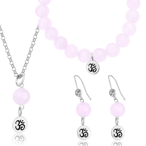 Sterling Silver Yoga Inspired Ohm Jewelry Set with Rose Quartz to Hear the Sound of the Universe
