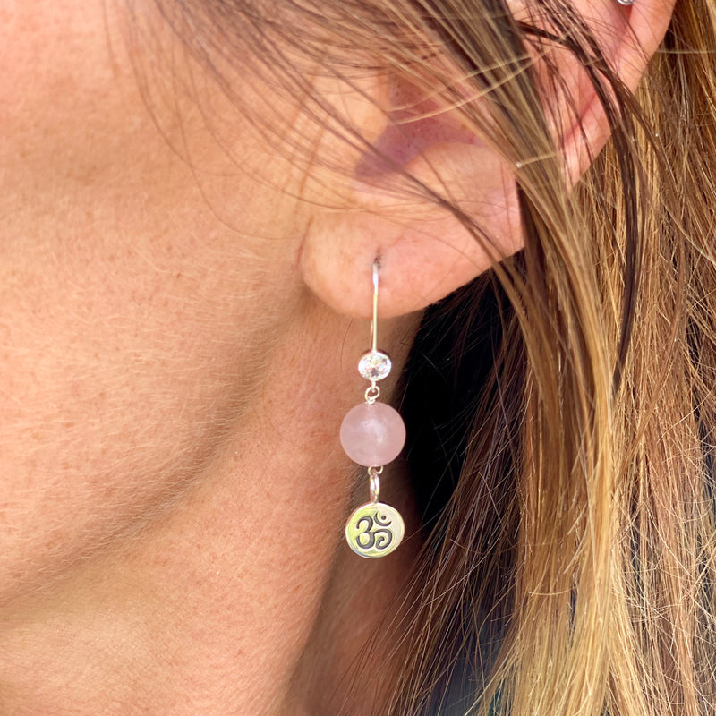 Sterling Silver Yoga Inspired Ohm Earrings with Rose Quartz to Hear the Sound of the Universe