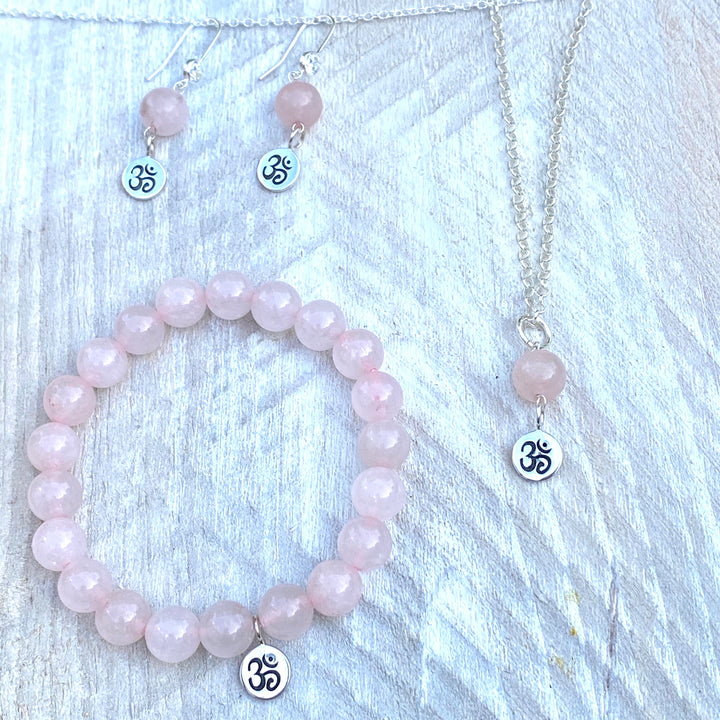 Yoga Inspired Rose Quartz Set with Ohm Charm to Hear the Sound of the Universe