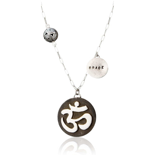 Sterling Silver Yoga and Meditation Necklace with Ohm and Grace Charms