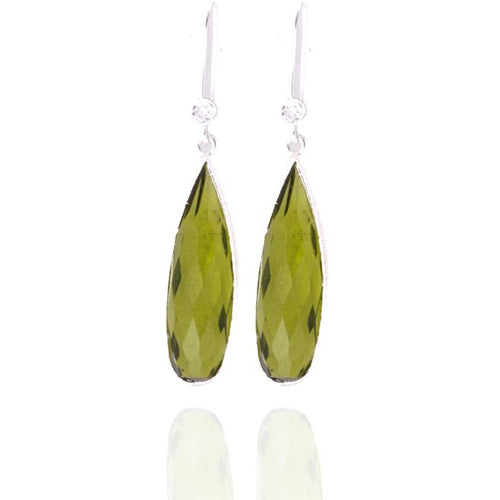 Sterling Silver Olive Quartz Crystal Earring for Self Esteem