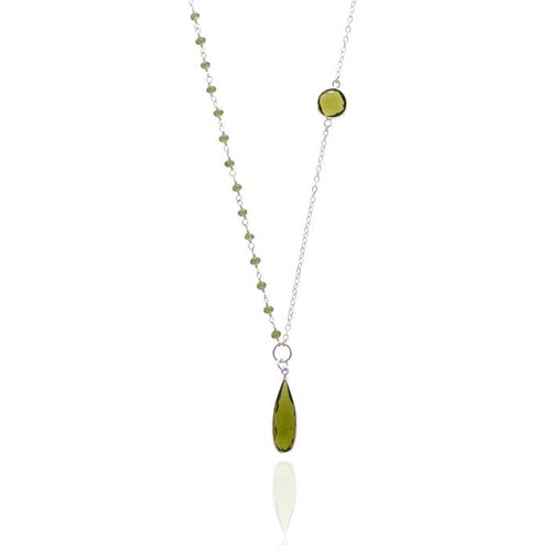 Asymmetrical Sterling Silver Olive Quartz Crystal Necklace for Self Esteem