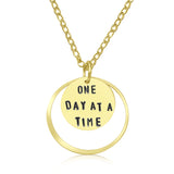 Inspirational Gold One Day at a Time Necklace
