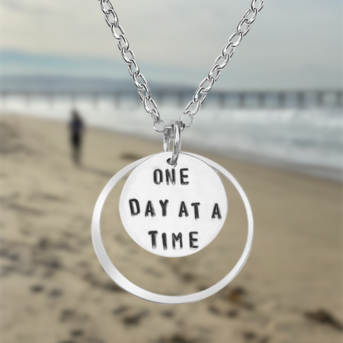 Inspirational Sterling Silver One Day at a Time Necklace