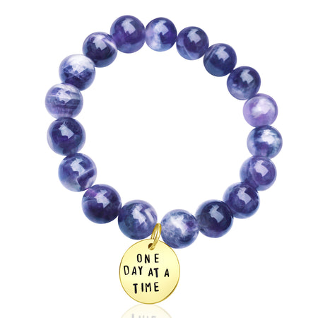 One Day at a Time - Inspirational Amethyst Wrap Bracelet