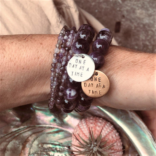 One Day at a Time Inspirational Amethyst Bracelet and Wrap Trio