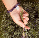 One Day at a Time Affirmation Bracelet with Amethyst