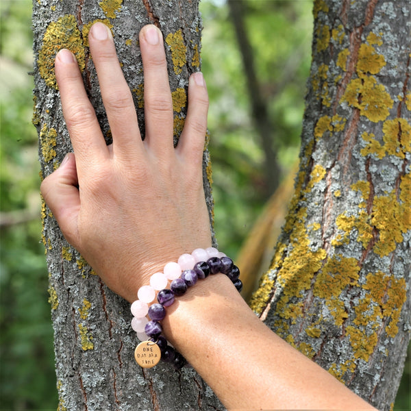 Gold One Day at a Time Inspirational Bracelet with Amethyst