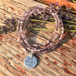 One Day at a Time - Inspirational Amethyst Bracelet and Wrap Bracelet