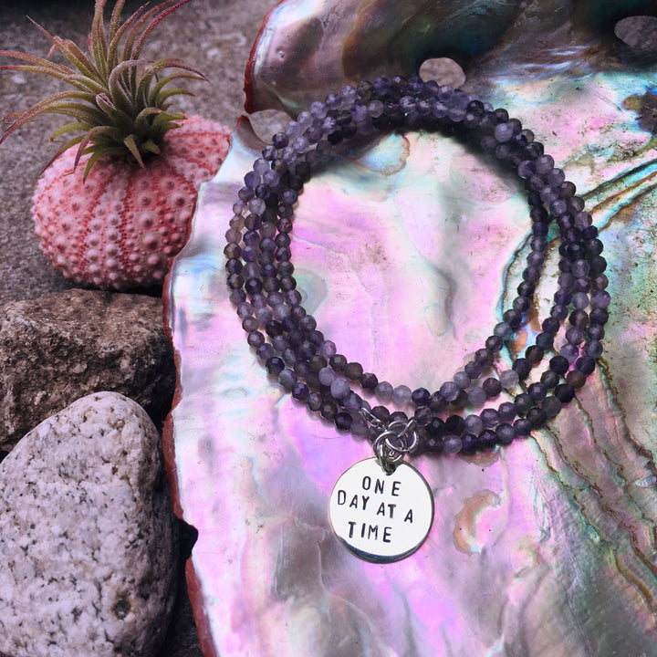 One Day at a Time - Inspirational Amethyst Wrap Bracelet. Calming and Stress Relief Bracelet.
