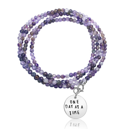 One Day at a Time - Inspirational Amethyst Bracelet and Wrap Trio