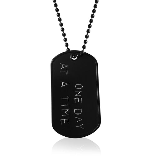 Inspirational One Day at a Time military, army, navy, air force, marine style black dog tag necklace.